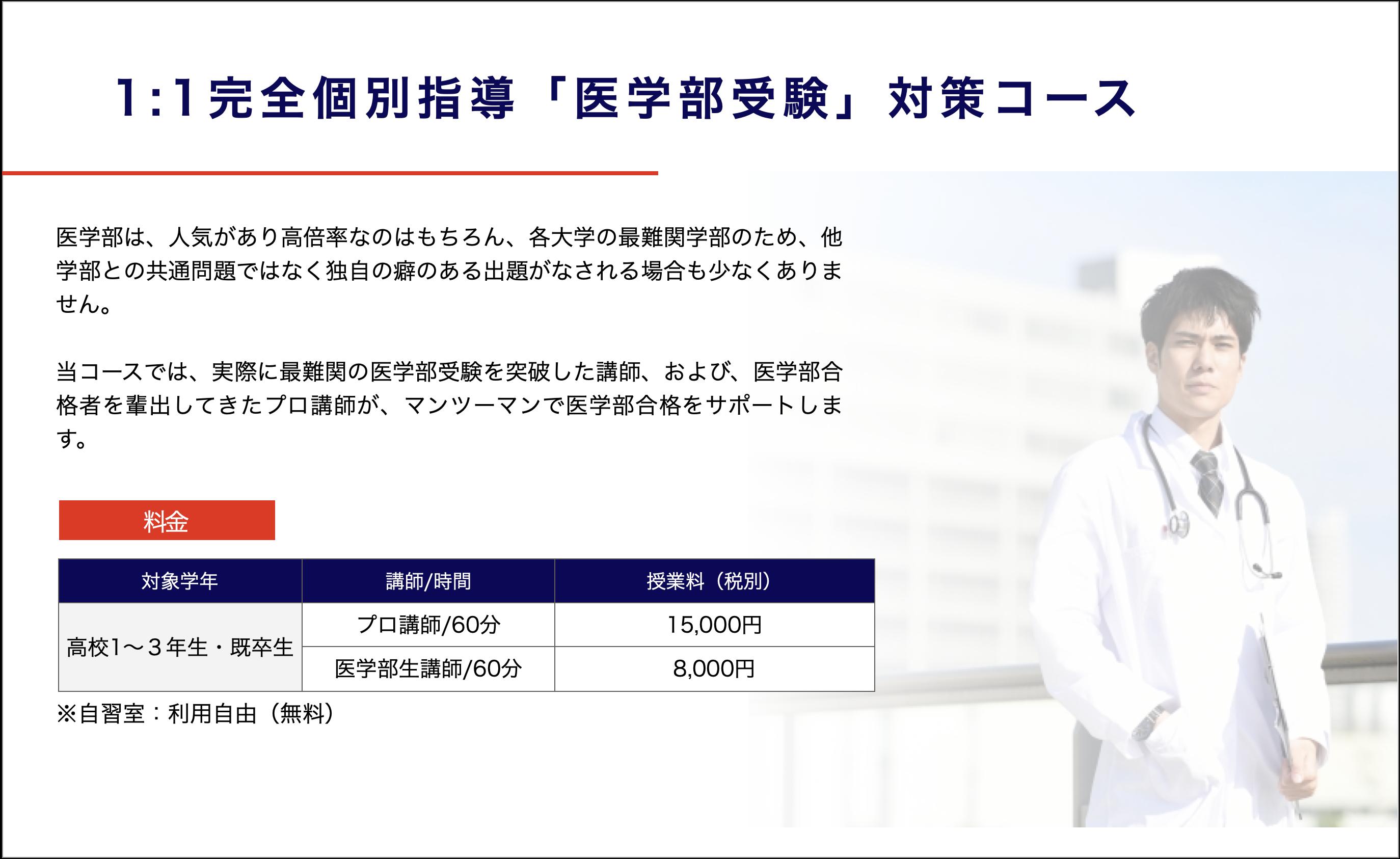1:1完全個別指導「医学部受験」対策コース